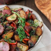 Roasted Potatoes, Sausage and Peppers Dinner