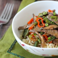 Beef, Shitake, and Green Bean Stir Fry
