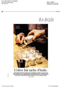 Olio Nuovo Days dans M Le Monde 1/2 Janv 2017