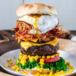 Brazilian Epic Burger with Egg | www.oliviascuisine.com | This monstrous burger is not for the faint of heart. Piled high with two burger patties and an assortment of bold toppings, no burger is more EPIC than this!