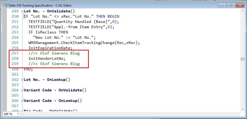 OnValidate-LotNo-Tracking-Specification-Dynamics-NAV