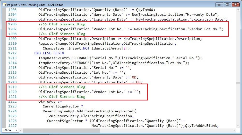 RegisterChange-Function-2-Item-Tracking-Lines-Page-Dynamics-NAV