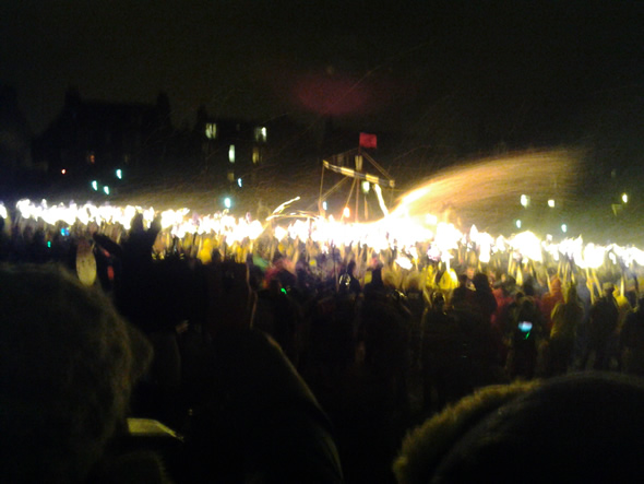 Up Helly Aa fire festival - the burning of the galley