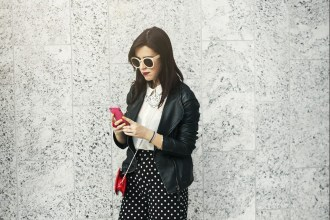 MFW - Day 1 Polka dots Palazzo Pants and lip clutch