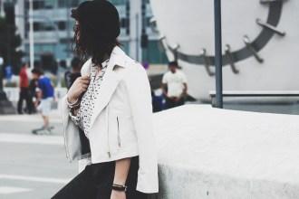 Leather Jacket white Sammydress Selma Michael Kors