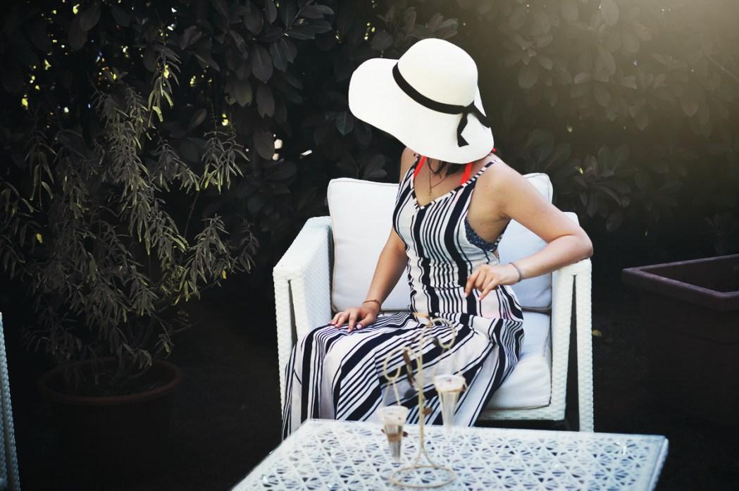 Beach robe long striped dress copricostume