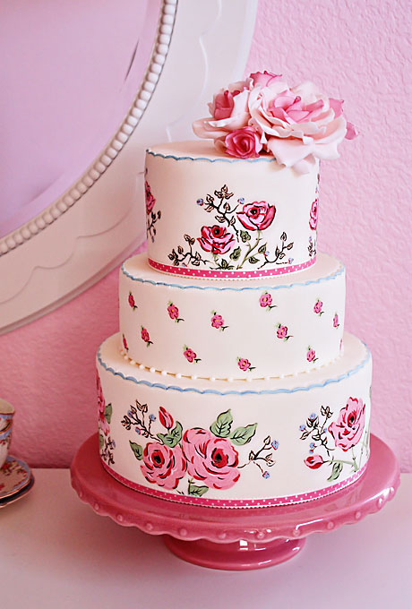 Pink Hand-Painted Floral Wedding Cake