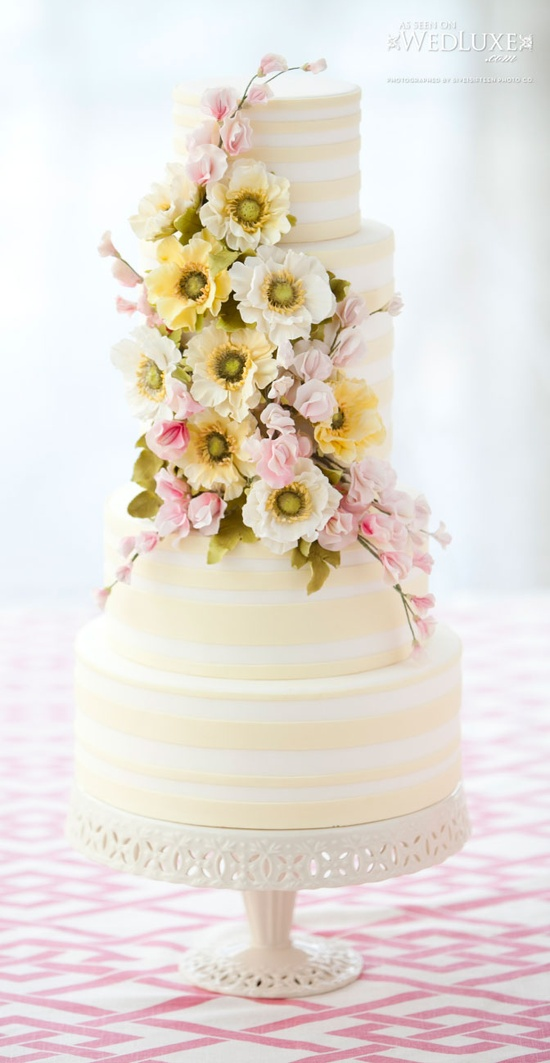 Striped Yellow & White Cake with Flowers