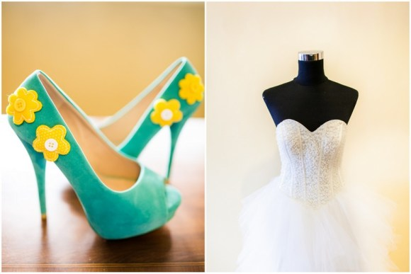 Blue and Yellow Shoes Gown by Lisa Penny