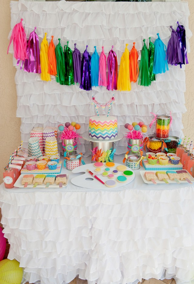 Rainbow Chevron Dessert Table