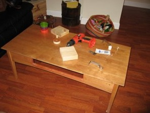 Repurposed Coffee Table to Child's Drawing Table