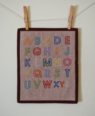 Alphabet Embroidered Mini-Quilt Tutorial