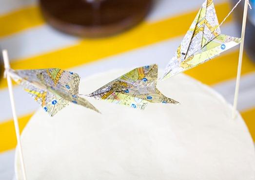 paper airplane cake bunting