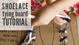 shoelace tying board tutorial