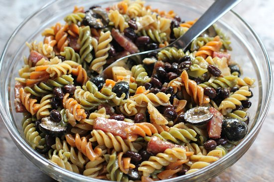Pasta Salad with Salami and Olives