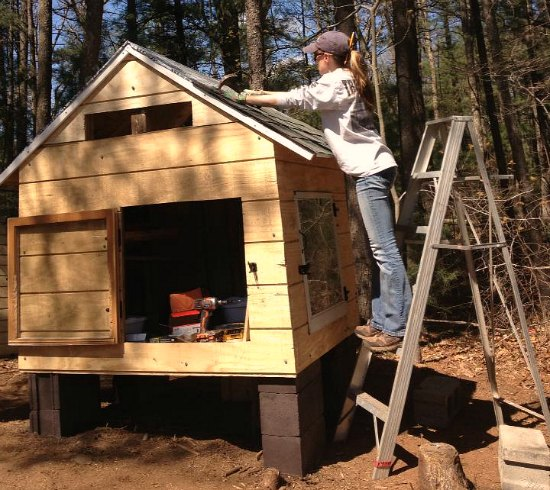 Chicken coop built out of recycled wood pallets
