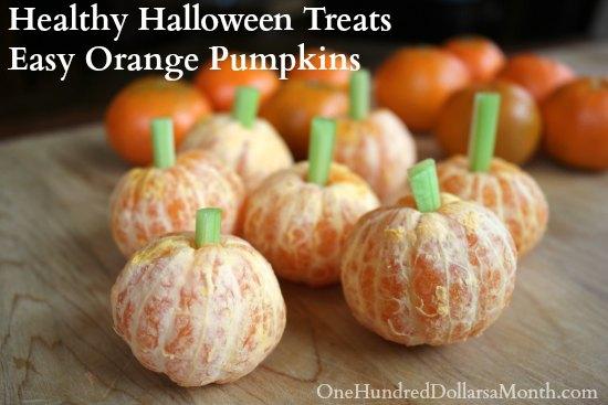 Healthy Halloween Treats Easy Orange Pumpkins