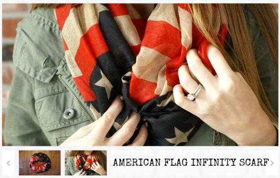 VINTAGE INSPIRED AMERICAN FLAG INFINITY SCARF
