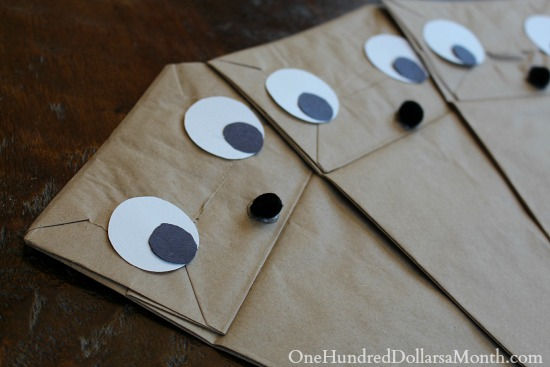 how to make Paper Bag Reindeer Puppets