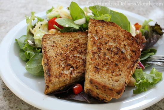 grilled cheese and salad