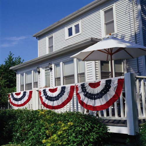 Patriotic Bunting 2-Sided Pleated Flag 58 x 27
