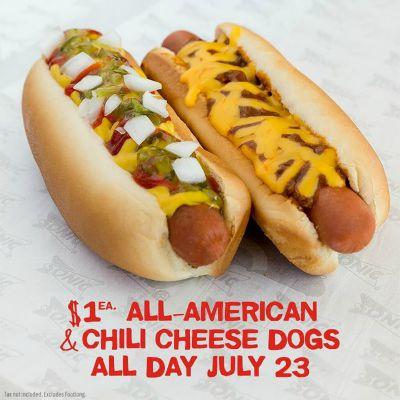 sonic hotdog deal