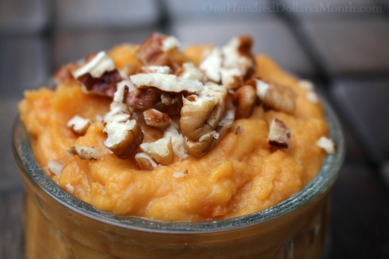 Mashed Butter Pecan Sweet Potatoes