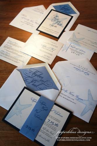 seaside wedding inviatation