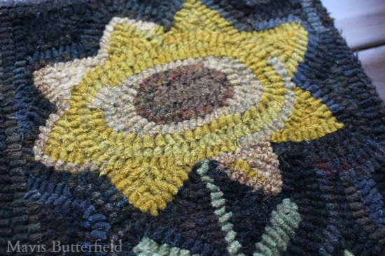 primitive hooked rug sunflower