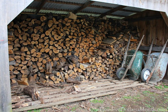 wood stacked for winter wood burning stove