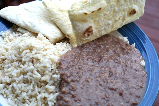 beans rice tortillas
