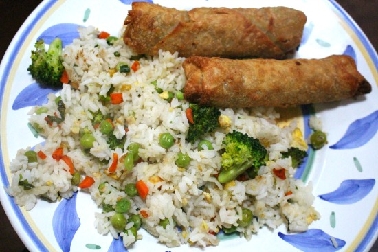 fried rice and pork rolls
