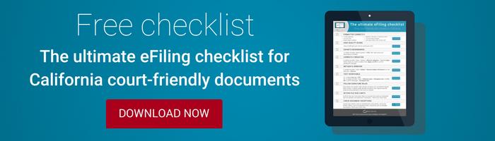 eFiling checklist