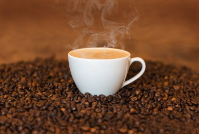 Cup of coffee steaming