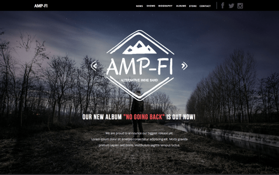 Amp-Fi - OnePage Music Band Muse Template