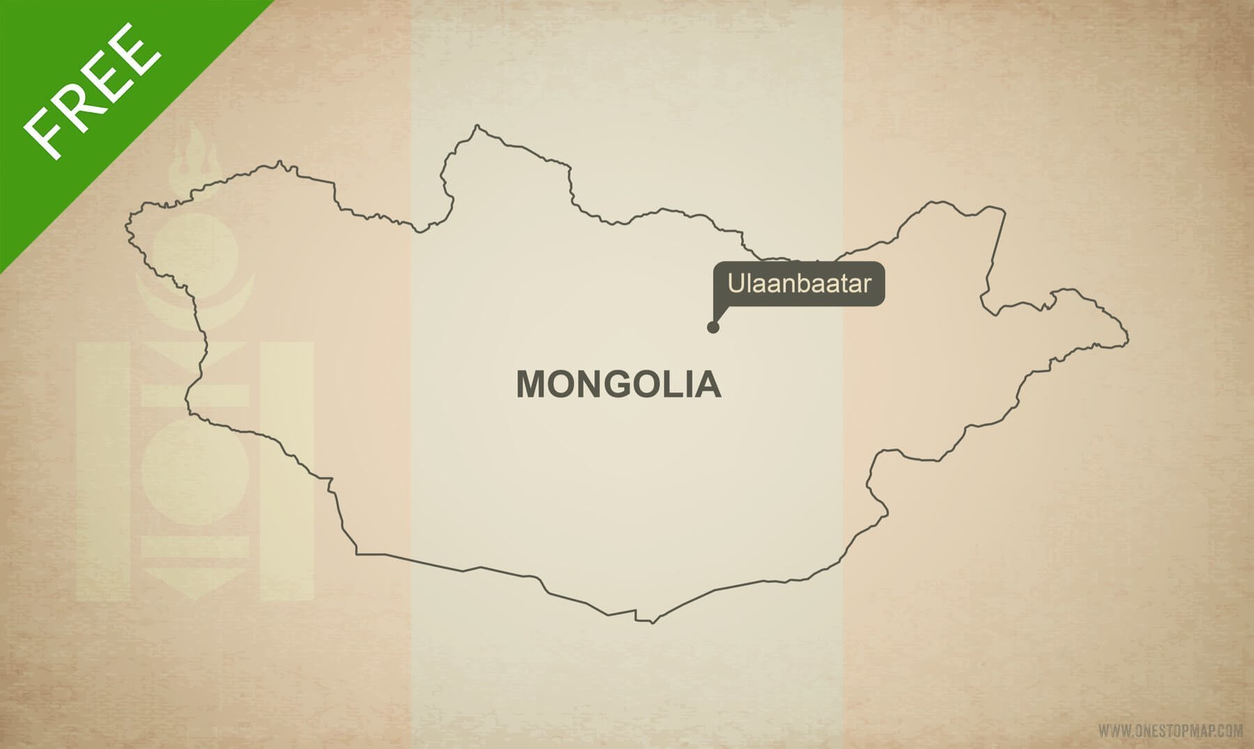 Free Vector Map of Mongolia Outline   One Stop Map Free vector map of Mongolia outline