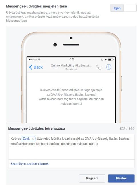Facebook Messenger üdvözlés beállítása akár megszemélyesítéssel