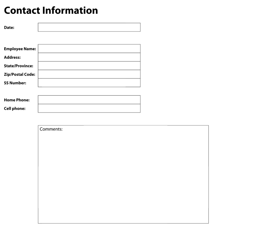 Best Customer Contact Information Form Ideas  Best Resume