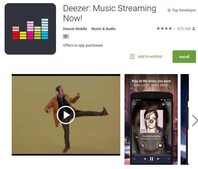 Deezer Music player online