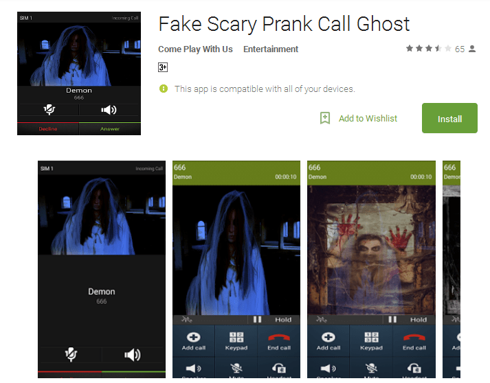 Fake Scary Prank Call Ghost Android Apps