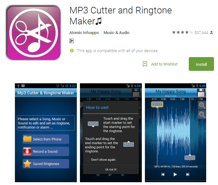 MP3 Cutter and Ringtone Maker ringtone for android mp3