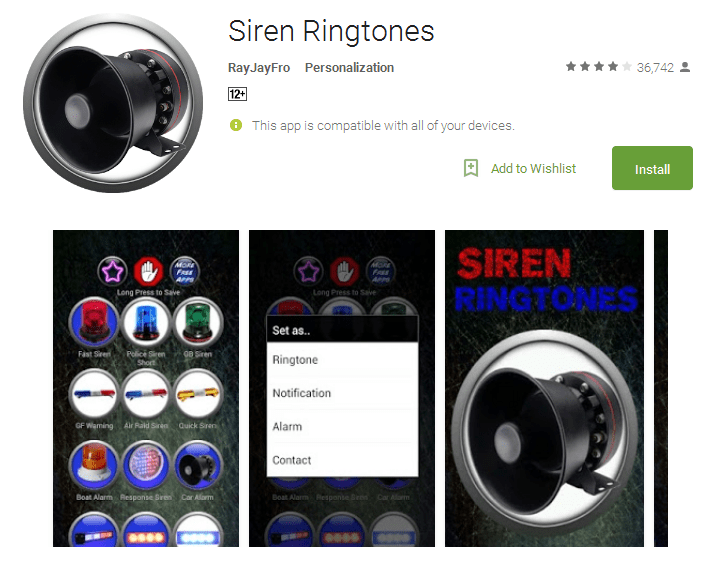 Siren Ringtones Android Apps