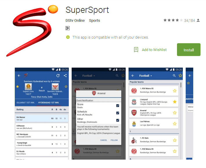SuperSport Android Apps