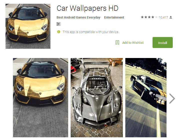 Car Wallpapers HD Android Apps
