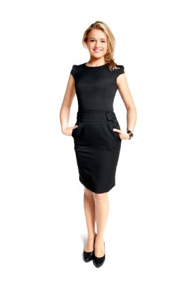 """Over the years the """"little black dress"""" has taken many forms.  This style which appeared a few years ago is suitable for the office, as well an evening the town."""