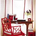 red chair and draperies and accessoreis from decor pad