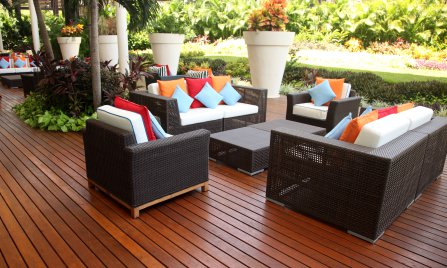 Outdoor furniture needs a special type of foam to withstand weather conditions.