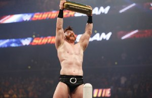 NEW YORK, NY - AUGUST 23:  Sheamus celebrates his victory at the WWE SummerSlam 2015  at Barclays Center of Brooklyn on August 23, 2015 in New York City.  (Photo by JP Yim/Getty Images)
