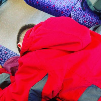 View 30 secs ago. We have been out for joint birthday meal for DH & Sqk....on train home again. Think someone tired...