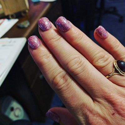 Sparkly nails for friends wedding on Sunday. Toenails match....